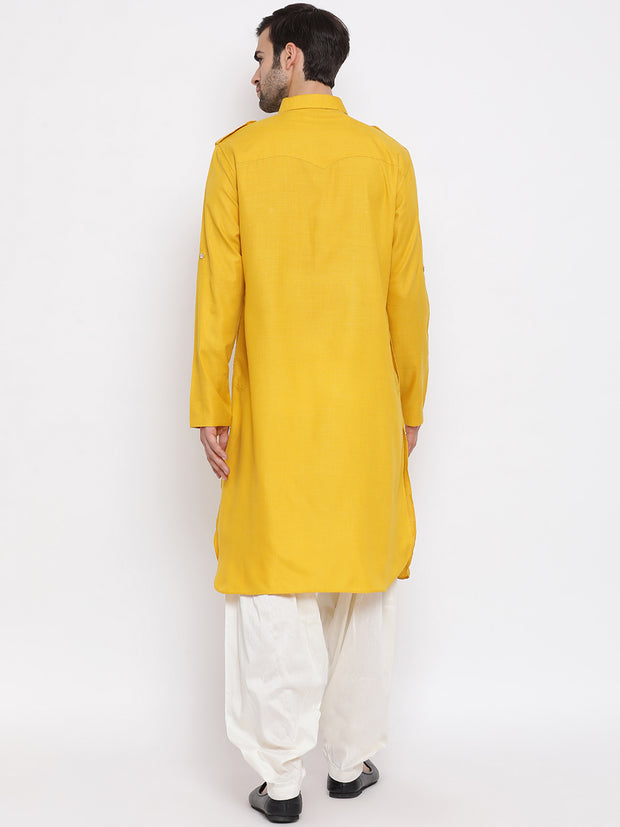Vastramay Men & Boys Mustard Solid Cotton Blend Pathani Suit Set