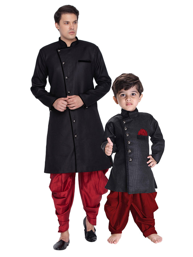 Vastramay Men and Boys Black Cotton Blend Sherwani with Maroon Dhoti