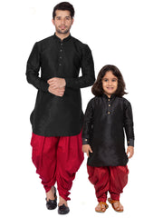 Black Cotton Silk Dhoti Kurta Combo for Father and Son