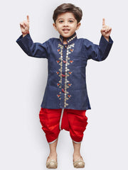 Boys' Blue Linen Kurta and Dhoti Pant Set