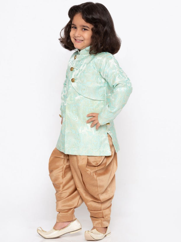 Boys' Light Green Cotton Silk Sherwani and Churidar Set