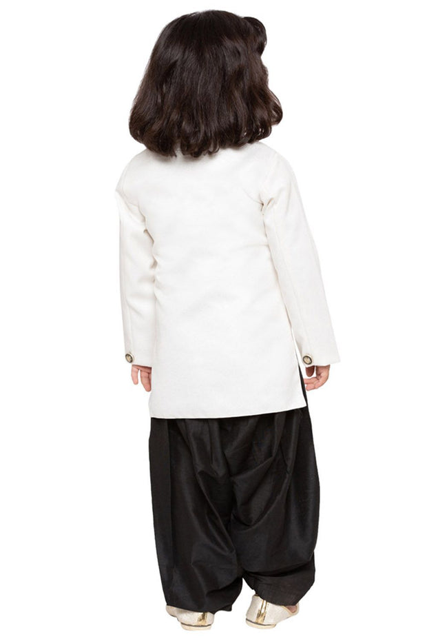 Boys' White Cotton Silk Sherwani and Churidar Set