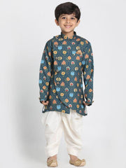 Boys' Deep Blue Cotton Silk Blend Kurta and Dhoti Pant Set