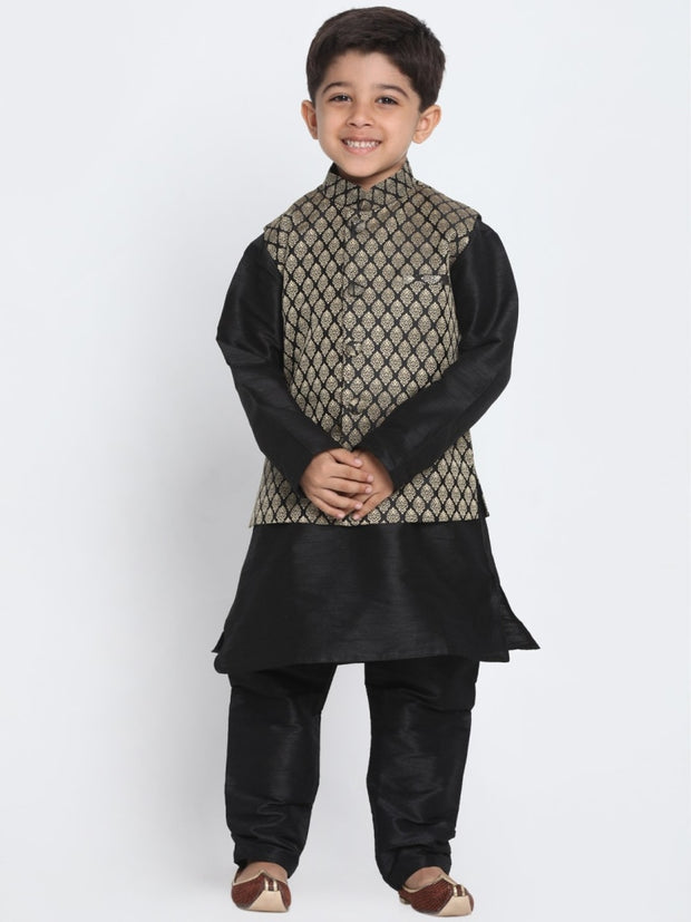 Vastramay Men & Boys Black Cotton Silk Jacket Kutra Pyjama Set