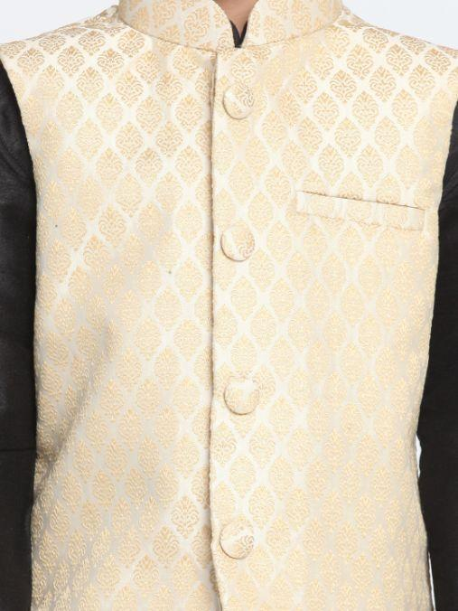 Boys' Beige Cotton Silk Blend Nehru Jacket