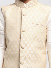 Boys' Beige Cotton Silk Blend Kurta, Waistcoat and Pyjama Set