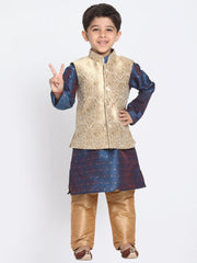 Vastramay Men & Boys Royal Blue Cotton Silk Jacket Kutra Pyjama Set