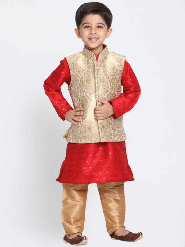 Boys' Gold Cotton Silk Blend Kurta, Waistcoat and Pyjama Set