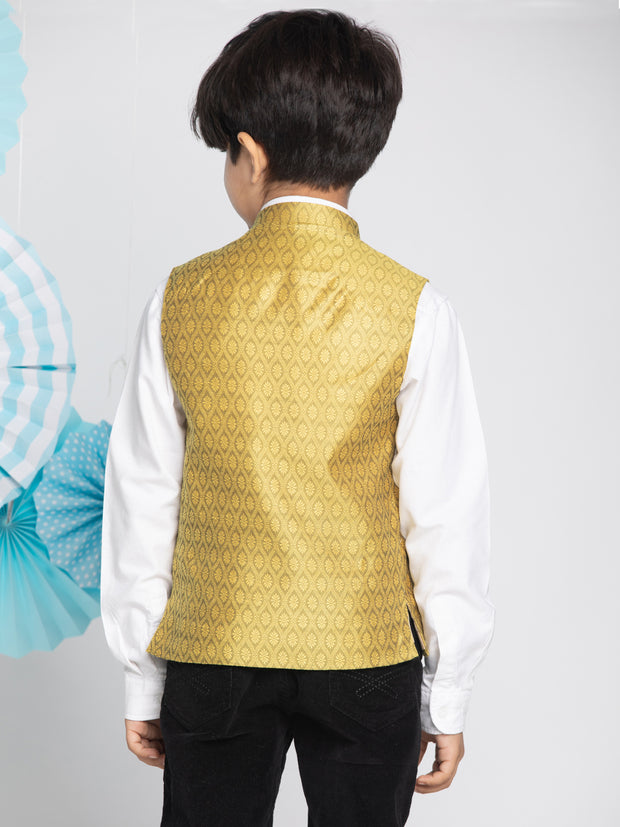 Vastramay Boys' Yellow Nehru Jacket