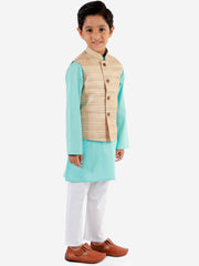 Vastramay Boys' Beige, Aqua And White Jacket, Kurta and Pyjama Set