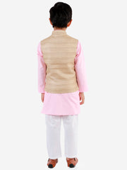 Vastramay Boys' Beige, Pink And White Jacket, Kurta and Pyjama Set