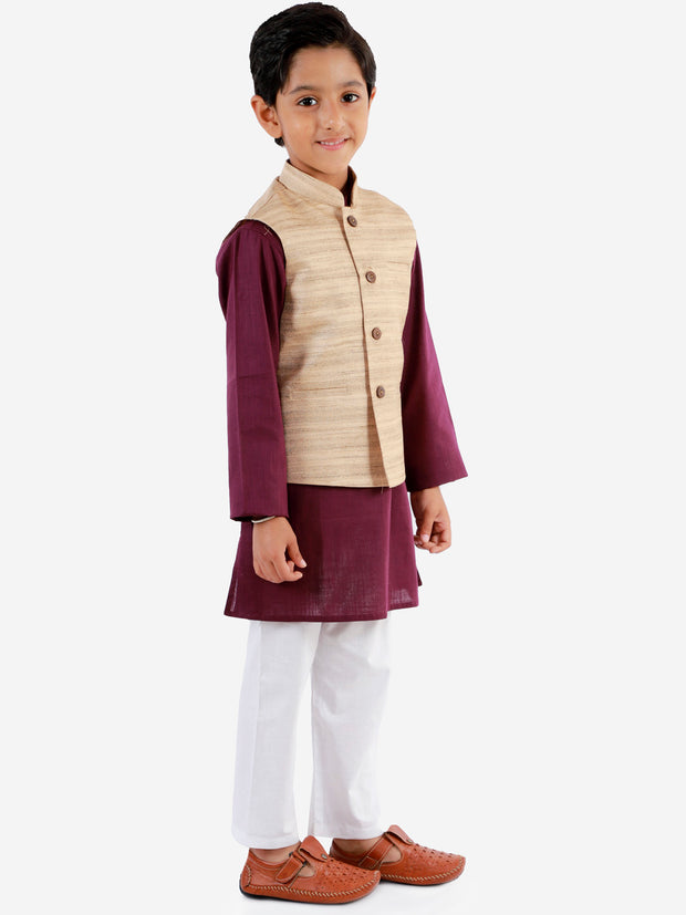 Vastramay Boys' Beige, Purple And White Jacket, Kurta and Pyjama Set