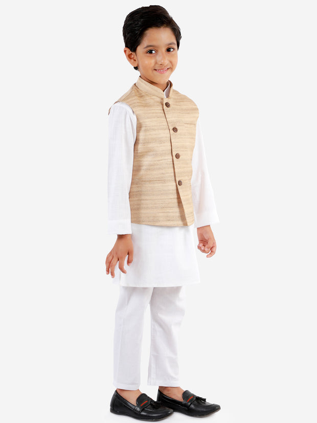 Vastramay Boys' Beige And White Jacket, Kurta and Pyjama Set