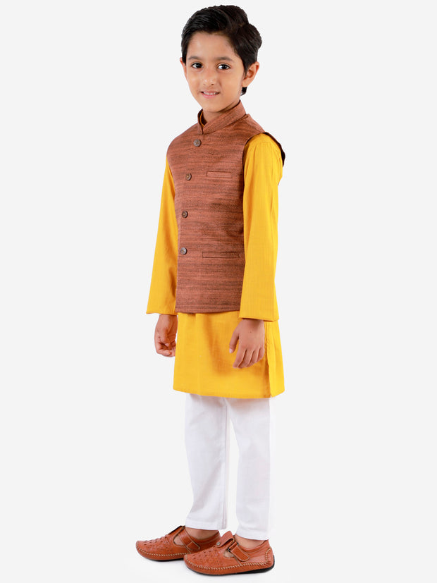 Vastramay Boys' Coffee Brown, Mustard And White Jacket, Kurta and Pyjama Set