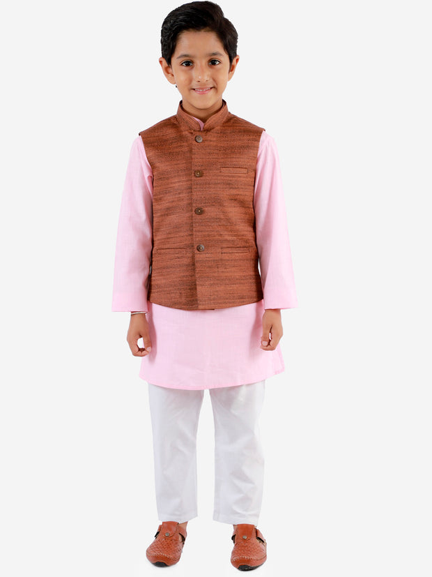 Vastramay Boys' Coffee Brown, Pink And White Jacket, Kurta and Pyjama Set