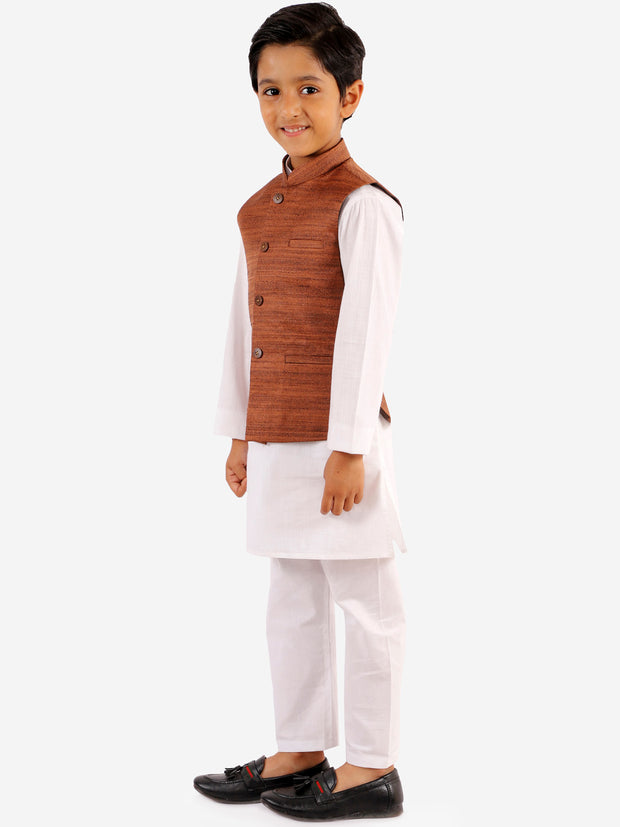 Vastramay Boys' Coffee Brown And White Jacket, Kurta and Pyjama Set