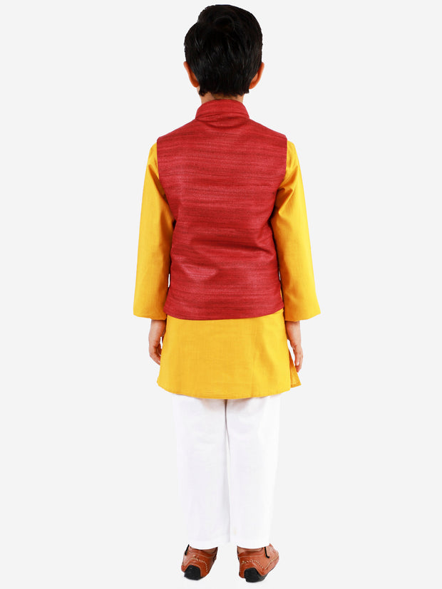 Vastramay Boys' Maroon, Mustard And White Jacket, Kurta and Pyjama Set