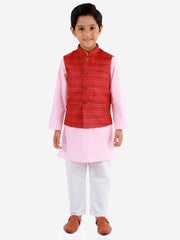 Vastramay Boys' Maroon, Pink And White Jacket, Kurta and Pyjama Set
