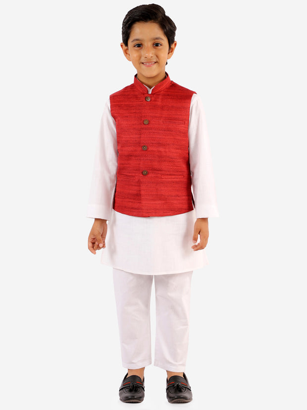 Vastramay Boys' Maroon And White Jacket, Kurta and Pyjama Set