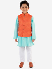 Vastramay Boys' Orange, Aqua And White Jacket, Kurta and Pyjama Set