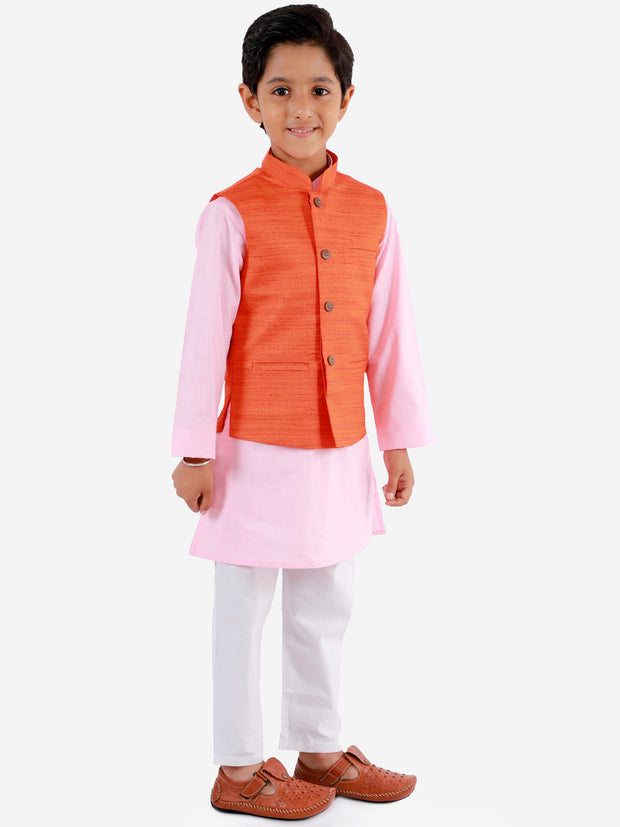 Vastramay Boys' Orange, Pink And White Jacket, Kurta and Pyjama Set