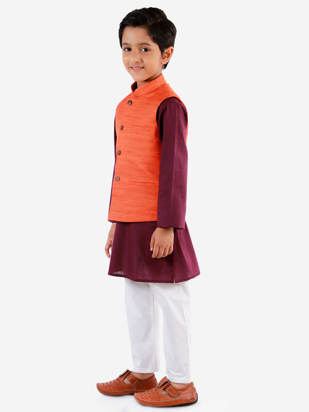 Vastramay Boys' Orange, Purple And White Jacket, Kurta and Pyjama Set