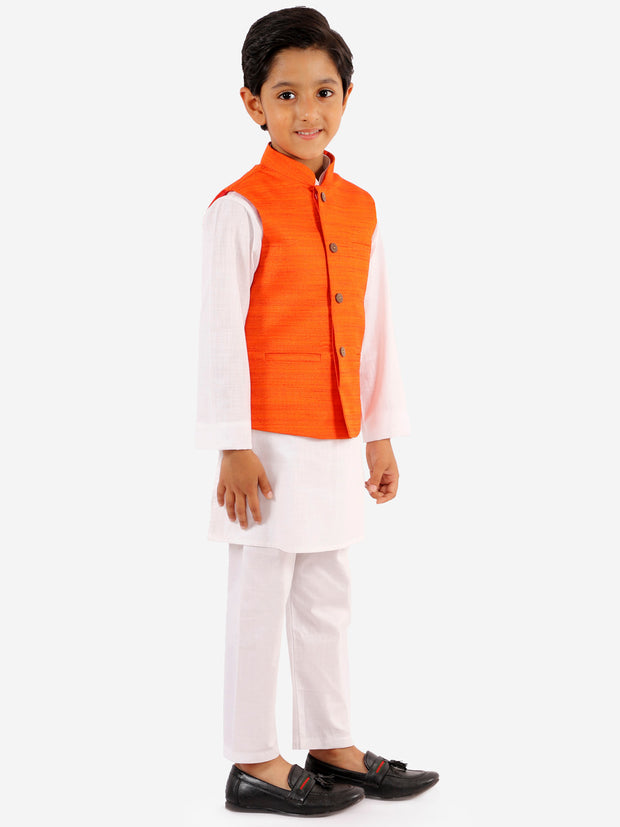 Vastramay Boys' Orange And White Jacket, Kurta and Pyjama Set