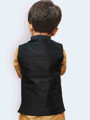 Boys' Black Silk Blend Nehru Jackets