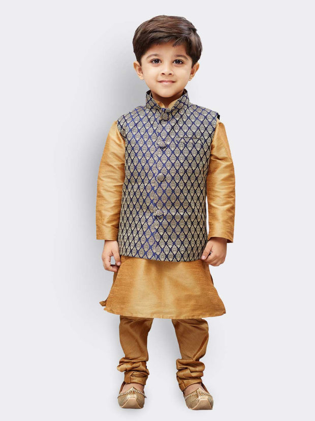 Boys' Blue Silk Blend Nehru Jackets