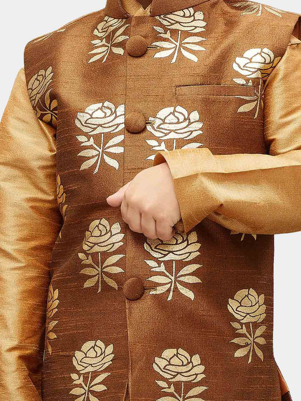 Boys' Brown Silk Blend Nehru Jackets