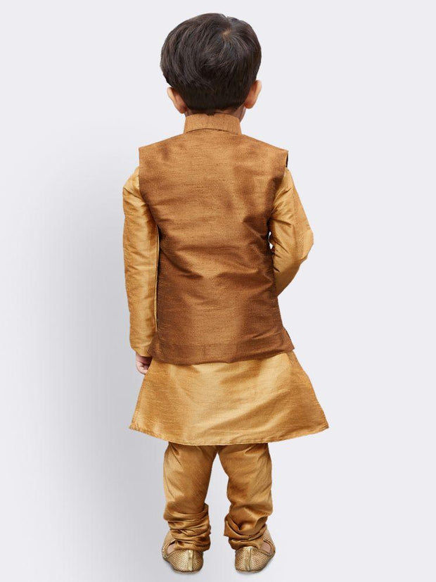 Boys' Gold Silk Cotton Blend Kurta, Waistcoat and Pyjama Set