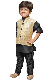 Boys' Black Cotton Silk Kurta, Waistcoat and Pyjama Set