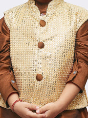 Boys' Brown Cotton Silk Kurta, Waistcoat and Pyjama Set