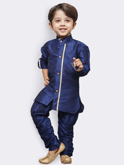 Boys' Blue Cotton Silk Kurta, Waistcoat and Pyjama Set