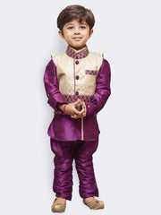 Boys' Purple Cotton Silk Kurta, Waistcoat and Pyjama Set