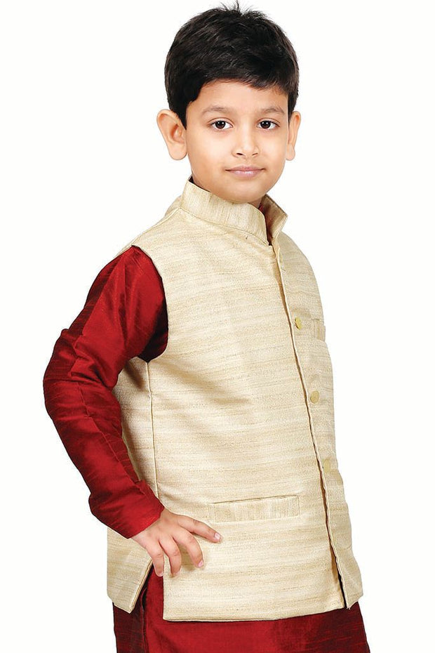 Boys' Beige Cotton Silk Jacket