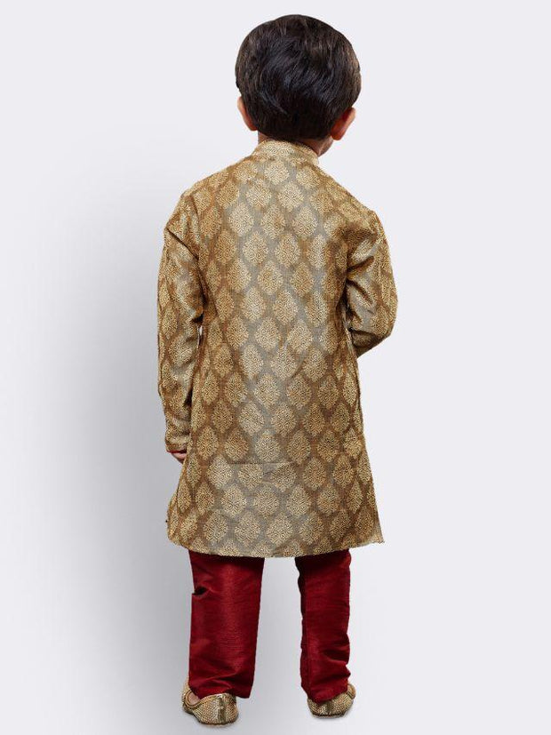 Boys' Beige Cotton Silk Kurta and Pyjama Set
