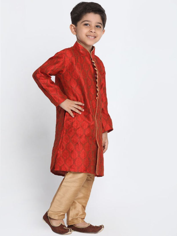 Boys' Red Cotton Silk Blend Kurta and Pyjama Set