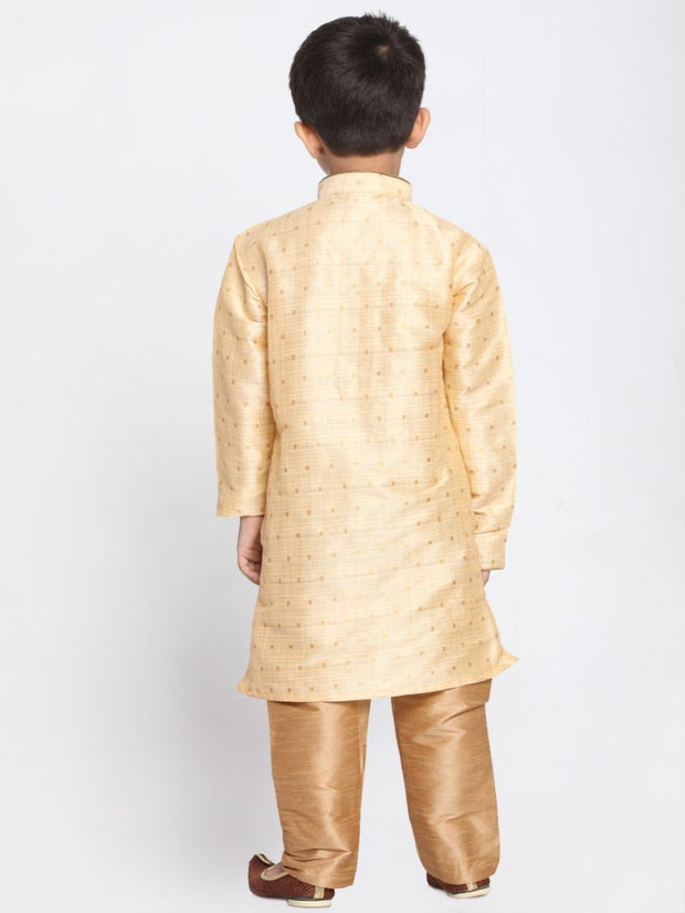 Boys' Gold Cotton Silk Blend Kurta and Pyjama Set