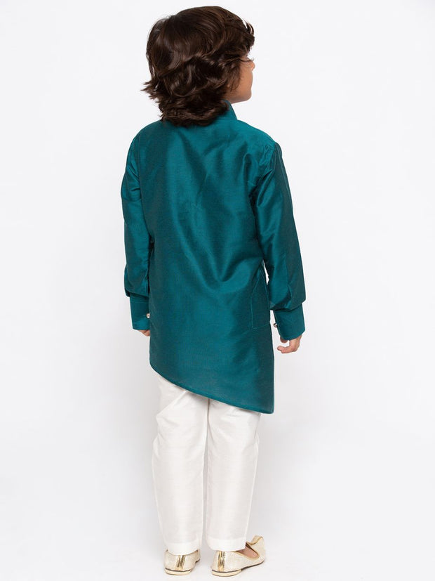 Boys' Green Cotton Kurta and Pyjama Set
