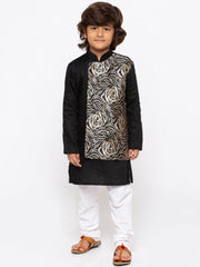 Boys' Black Cotton Kurta and Pyjama Set