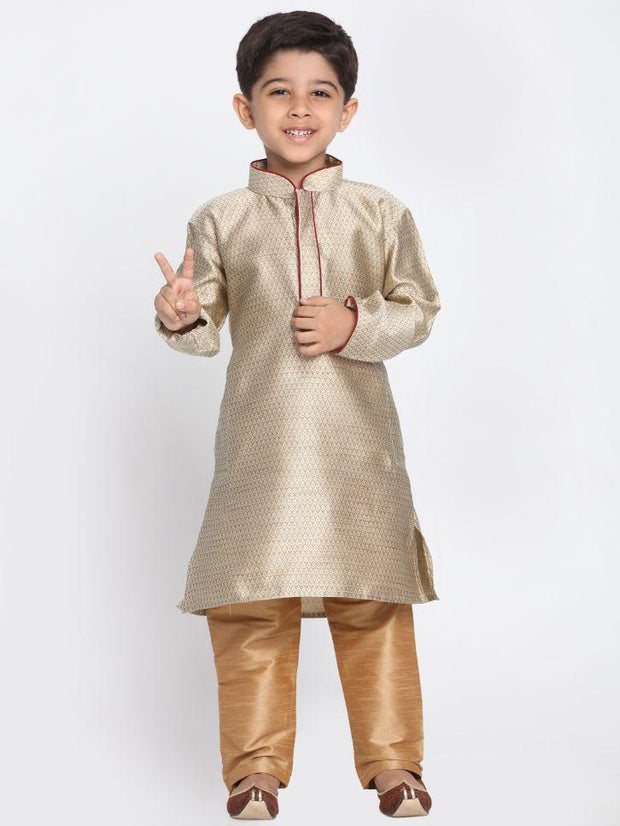 Boys' Beige Cotton Silk Blend Kurta and Pyjama Set