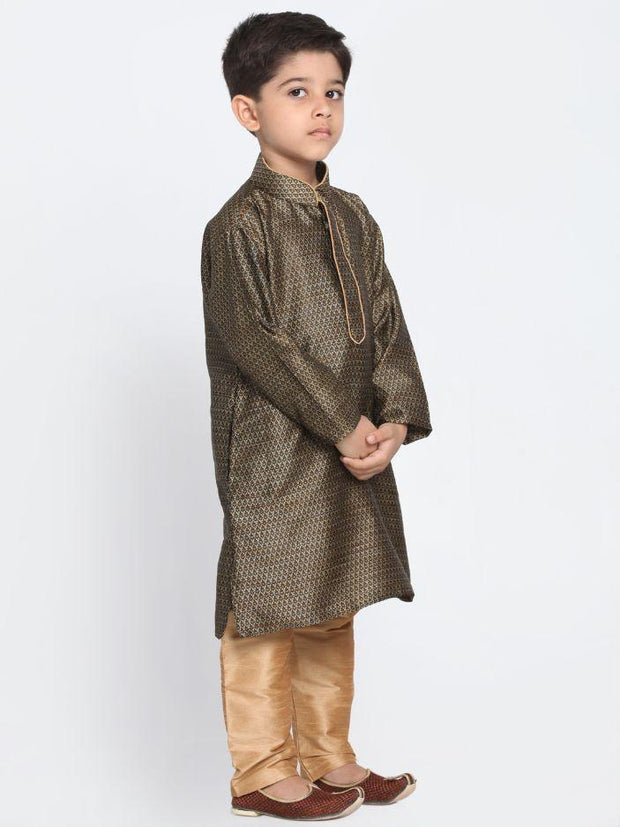 Boys' Black Cotton Silk Blend Kurta and Pyjama Set