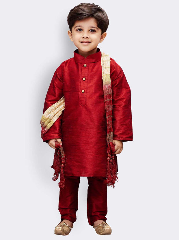 Boys' Maroon Cotton Silk Kurta, Pyjama & Dupatta Set