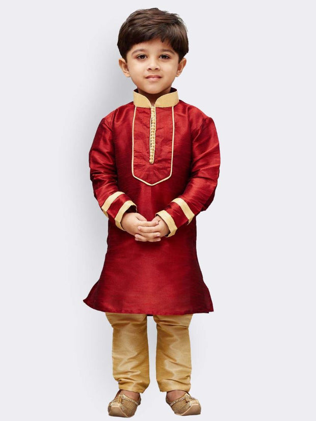 Boys' Maroon Cotton Silk Kurta and Pyjama Set