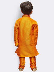 Boys' Orange Cotton Silk Kurta and Pyjama Set