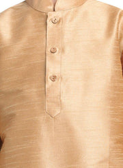 Boys' Gold Cotton Silk Kurta and Pyjama Set