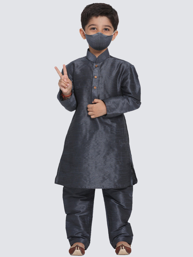 Boys' Grey Cotton Silk Blend Kurta and Pyjama Set