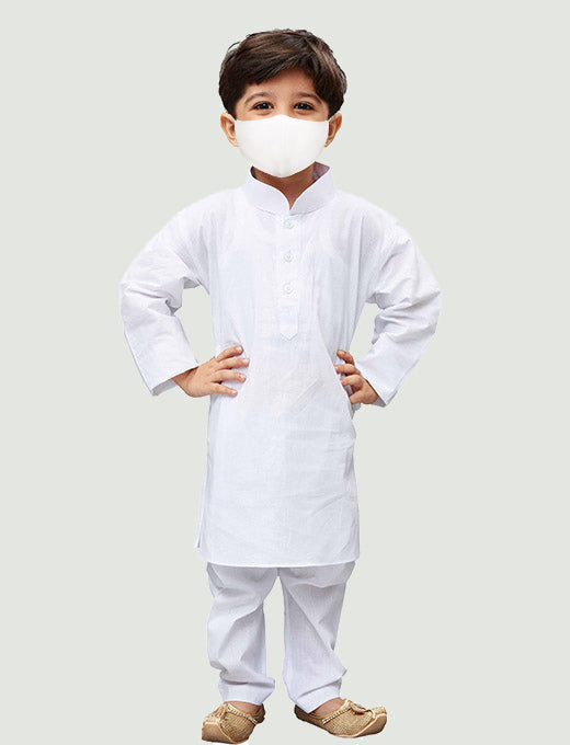 Boys' White Cotton Kurta and Pyjama Set
