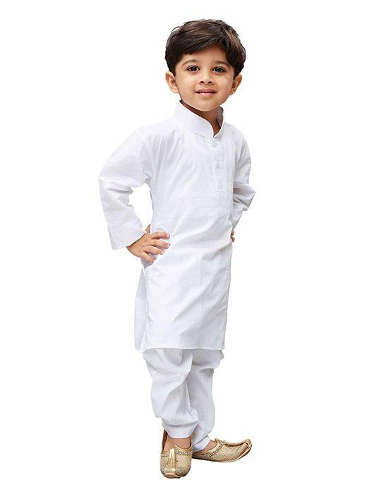 Boys' White Cotton Kurta, Pyjama & Dupatta Set